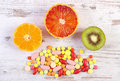 Fresh Fruits And Colorful Medical Pills, Choice Between Healthy Nutrition And Medical Supplements Royalty Free Stock Images - 92691819