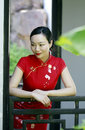 Chinese Cheongsam Model In Chinese Classical Garden Stock Photography - 92697742