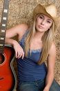 Country Guitar Girl Stock Photography - 9273272