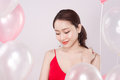 Asian Beautiful Woman In Red Dress With Pastel Balloons Royalty Free Stock Image - 92705876