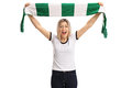 Delighted Female Football Fan Holding A Scarf And Cheering Royalty Free Stock Images - 92707939