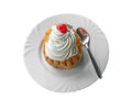 Savarin Cake With Cream And Syrup, Silver Spoon, White Plate Royalty Free Stock Photos - 92721638