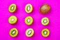 Kiwi Fruit Pattern On Pink Colored Background, Minimal Flat Lay Style, Copy Space. Stock Photography - 92725142