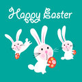 Vector Easter Greeting Card With Funny Hares Stock Photography - 92725162
