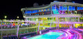 Open Deck In The Night Time. Giant Cruise Ship Oasis Of The Seas. Royal Caribbean. Royalty Free Stock Images - 92735079