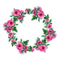 Rose Flower Wreath. Floral Circle Border. Watercolor Frame Royalty Free Stock Images - 92736949