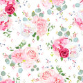 Small Romantic French Bouquets Seamless Vector Speckled Pattern. Stock Photos - 92740863