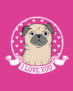 Greeting Card With Funny Pug Royalty Free Stock Photos - 92743498