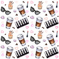 Watercolor Seamless Pattern With Disposables Cups Of Coffee, Cup Stock Photos - 92747803