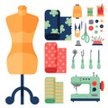 Thread Supplies Accessories Sewing Equipment Tailoring Fashion Pin Craft Needlework Vector Illustration. Stock Photography - 92750272