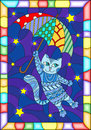 Stained Glass Illustration  With Funny Flying Cat On The Umbrella Against The Starry Night Sky Royalty Free Stock Image - 92750636