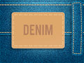 Leather Label On Blue Denim Fabric. Vector Illustration Template. Stock Images - 92754964