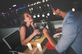 Young Beautiful Couple Having Romantic Dinner On Rooftop Royalty Free Stock Image - 92757136