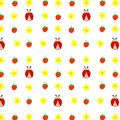 Seamless Pattern Hand Drawn Ladybird, Yellow Daisies Camomiles Strawberries, Kids Fabric, Quilting, Tapestry, Wrapping Paper Stock Image - 92780231