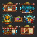 Set Of Example Of Wooden Board User Interface Of Game. Window Of Level Choice, Shop, Skills, Choice Character, Setting And Victory Royalty Free Stock Photo - 92792375