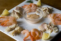 Shrimps And Smoked Trout On A Plate Royalty Free Stock Photos - 9280858