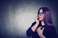 Hesitant Anxious Woman Biting Her Fingernails Looking Sideway Royalty Free Stock Photos - 92800268