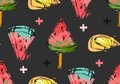 Hand Drawn Vector Abstract Unusual Summer Time Seamless Pattern With Watermelon Slice,icecream,lemon And Crosses Stock Image - 92808591