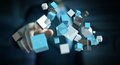 Businessman Touching Floating Blue Shiny Cube Network 3D Renderi Royalty Free Stock Image - 92815046