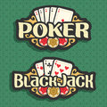 Vector Logo Poker And Black Jack Royalty Free Stock Image - 92816336