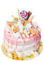 Birthday Cake With Decorated With Candies, Lollipop, Marshmallows. Pink Pastel Color. Balloons On Background. Isolated Stock Photography - 92833852
