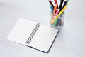 Blank Open Notebook With Pencil Crayons Stock Images - 92834864