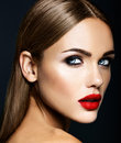 Beautiful Woman Model Lady With Fresh Daily Makeup Stock Image - 92835481