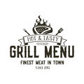 Grill Menu Emblem Template. Steak House Restaurant Logo Design With Bbq Symbols - Meat, Fire, Barbeque Tools. Vintage Royalty Free Stock Image - 92853086