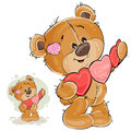 Vector Illustration Of A Brown Teddy Bear Holding A Garland Of Red And Pink Hearts In Its Paws Royalty Free Stock Photo - 92853265