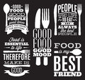 Set Of Vintage Typographic Food Quotes For Menu Or T-shift With Knife, Spoon, Fork Stock Photo - 92874390
