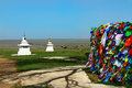 Buddhism Prayer Flags And Stupa In Steppe Royalty Free Stock Images - 92876699