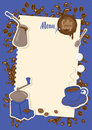 Menu With A Cup, Sugar, Cezve And Coffee Grinder Royalty Free Stock Image - 92893636