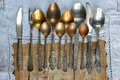 Metal Spoons, Forks, Knives, On An Old Rustic Table Stock Photos - 92895123