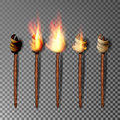 Torch With Flame. Realistic Fire. Realistic Fire Torch Isolated On Transparent Background. Vector Illustration Royalty Free Stock Photo - 92906845