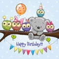 Five Owls And A Bear On A Branch Royalty Free Stock Photos - 92908378