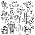 Set Of Funny Cactus Characters. Stock Photo - 92914240
