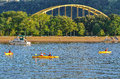 Fort Pitt Bridge And Kayaks - Pittsburgh, PA Royalty Free Stock Images - 92922569
