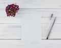 Blank White Card With Two Black Pens Royalty Free Stock Photo - 92936945