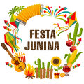 Festa Junina Cartoon Background With Decorative Frame. Folklore Holiday. Characters. Stock Photos - 92938313