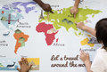 Kids Learning World Map With Continents Countries Ocean Geograph Stock Image - 92938341