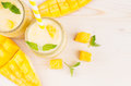 Freshly Blended Yellow Mango Fruit Smoothie In Glass Jars With Straw, Mint Leaves, Mango Slices, Close Up, Top View. Royalty Free Stock Images - 92940879