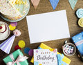 Birthday Celebration With Cake Presents Card Copy Space Stock Photography - 92941012