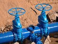 Gate Valves Underground, Water Pipeline Valve On A Blue Pipeline After Reconstruction. Stock Images - 92943814