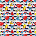 Vector Seamless Pattern With Stripes And Colorful Patches. Royalty Free Stock Photography - 92951507