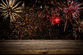 Empty Table In Front Of Fireworks Background. Product Display Montage Royalty Free Stock Images - 92952859