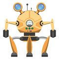 Yellow Metallic Robot With Three Legs Drawn Icon Royalty Free Stock Image - 92957146