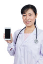 Asian Female Doctor Using Mobile Phone Royalty Free Stock Images - 92957729