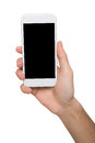 Male Hands Pointing On Blank Mobile Phone Screen Royalty Free Stock Photo - 92959035