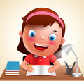 Girl Kid Vector Character Happy Studying In Desk Doing School Homework Royalty Free Stock Photos - 92960098