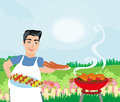 Man Cooking Meat On Grill Stock Photo - 92965800